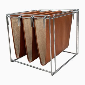 Chromed Steel & Leather Magazine Rack by Max Sauze, 1970s