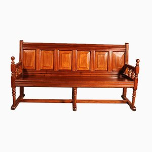 Antique French Cherry Wood Bench, 1800s