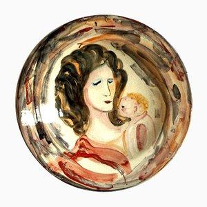 Italian Ceramic Art Pottery Plate by Trento Longaretti for Rossicone, 1980s