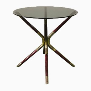 Wood and Brass Coffee Table with Smoked Glass Top Attributed to Cesare Lacca, Italy, 1950s