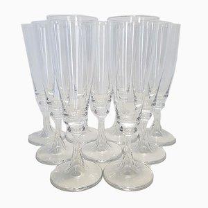 Französische Kristall Modell Troubadour Champagnergläser von Daum, 1970er, 9er Set