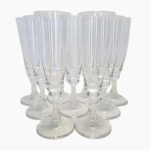 French Crystal Model Troubadour Champagne Flutes from Daum, 1970s, Set of 9