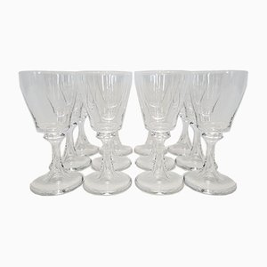 French Crystal Model Troubadour White Wine Glasses from Daum, 1970s, Set of 12