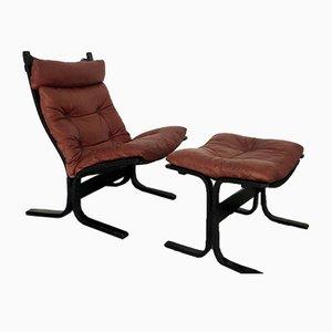 Chaise Lounge noruego y otomana de Ingmar Relling para Westnofa, años 70. Juego de 2