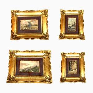 Italian Landscape Oil Paintings, 1940s, Set of 4