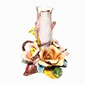 Italian Capodimonte Biscuit Porcelain Rose Flower Candleholder, 1950s