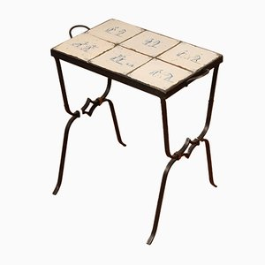 Mid-Century Wrought Iron Side Table with 17th Century Tiles Pottery from Dutch Delft