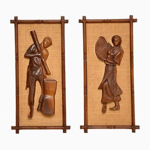 Carved Walnut Decorative Wall Art,, 1960s, Set of 2