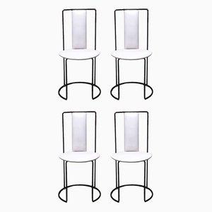 Italienische Esszimmerstühle aus Schwarzem Metall & Weißem Leder, 1980er, 4er Set