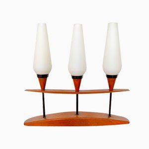Lámpara de mesa trío de teca y vidrio opalino, años 60