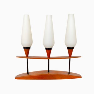 Teak and Opal Glass Trio Table Lamp, 1960s