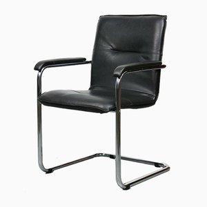 Vintage Black Leatherette Cantilever Desk Chair, 1970s