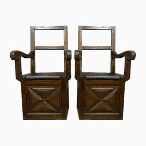 Wooden Armchairs, Set of 2, 1800s