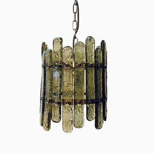 Brutalistische italienische Deckenlampe aus Schmiedeeisen, Glas & Gold, 1970er