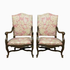Walnut & Velvet Lounge Chairs, 1850s, Set of 2