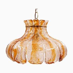 Florale Muranoglas Deckenlampe von Carlo Nason für Mazzega, 1970er
