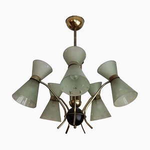 Glass Diabolo Chandelier from Maison Lunel, 1950s