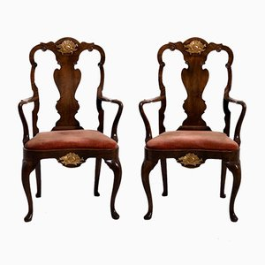 Scandinavian Walnut Armchairs, Set of 2