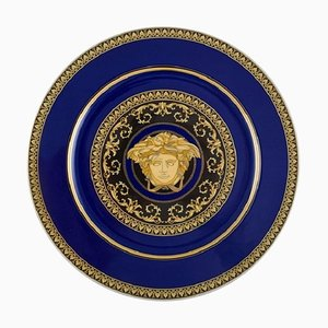 Medusa Blue Plate in Porcelain with Gold Decoration by Gianni Versace for Rosenthal