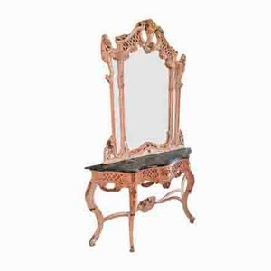 White Dressing Table with Large Mirror