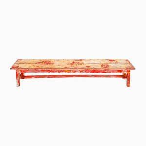 Red Patina Wooden Bench