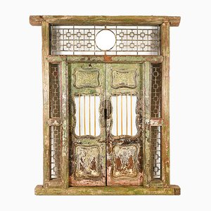 Carved and Patinated Wooden Door and Frame