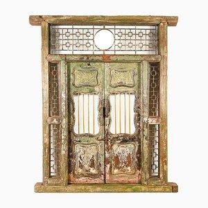 Geschnitzte und Patinierte Tür und Rahmen aus Holz