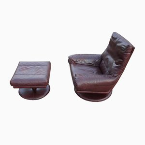 Leather Armchair with Footstool by Rolf Benz, 1970s, Set of 2