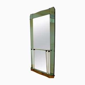 Large Console Wall Mirror with Emerald Green Border from Cristal Arte, Italy, 1950s