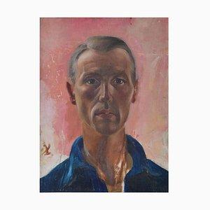 Männliches Portrait, 1960er, Öl auf Holz