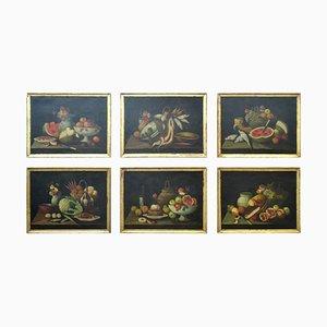 Stilleben, Öl auf Leinwand, 18. Jahrhundert, 6er Set