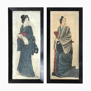 Early 20th Century Japanese Portraits Painted On Silk, Set of 2
