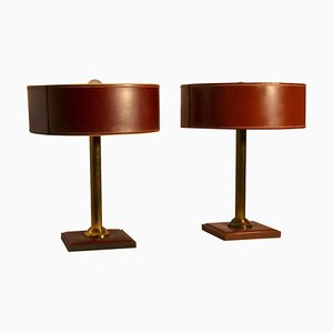 Leather Table Lamps Attributed to Adnet, Set of 2