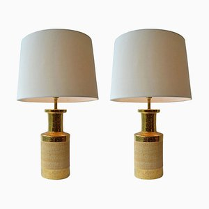 Gold and Stoneware Ceramic Italian Table Lamps by Bitossi, Set of 2