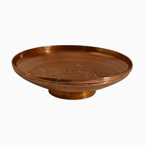 Large Decorative Copper Bowl with Etched Motive
