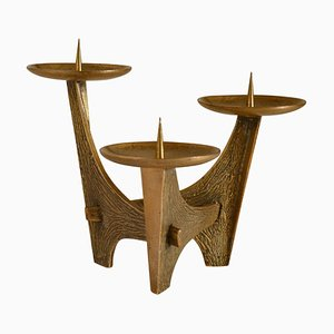 Sculptural Bronze Three-Arm Candelabra