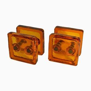 Viereckiger doppelter Türdrückergriff aus orangenem Glas