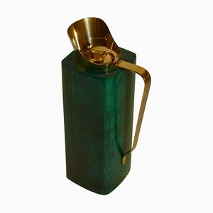 Thermos Flask in Green Parchment by Aldo Tura