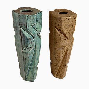 Pottery Vases in Blue and Beige Glaze, Set of 2