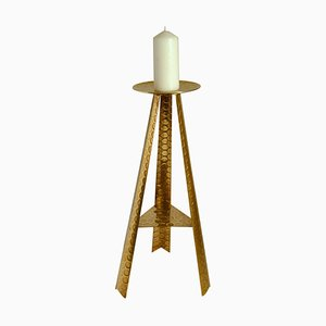 Large Brass Floor Candle Holder, 1950s