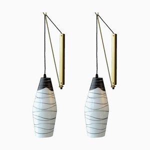 Czech Black and White Hand-Painted Glass Wall Lights, Set of 2