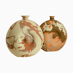 Large Pottery Vases in Earth Tones, Set of 2