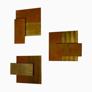 Geometric Brass Wall Candle Holders and Wall Geometric Relief, Set of 2