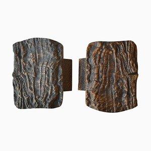 Brutalist Bronze Push and Pull Door Handles, Set of 2