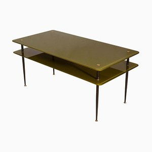 Olive Green Glass Coffee Table, Italy, 1950s