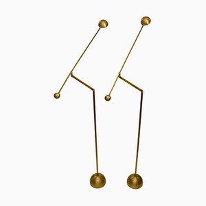 Brass Counterbalance Floor Lamps, Set of 2