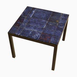 Italian Bright Blue Ceramic Tile Square Side Table on Black Metal Frame