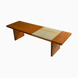 Walnut Coffee Table with White and Gold Mosaic Inlay