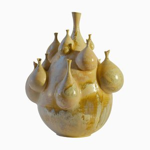 Sculptural Pottery Vase by M. Fisher