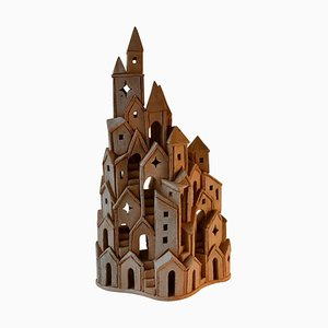 Architectural Surreal Ceramic Tower Sculpture by Dutch Arie Bouter, 1995